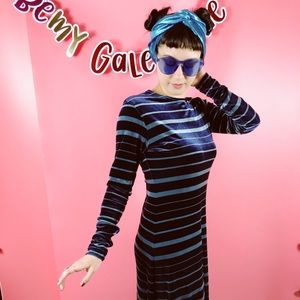 Vtg 90s Striped Velvet Maxi Dress M